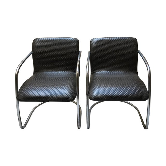 Mid Century Chrome Basket Weave Chair - Pair - Image 1 of 8