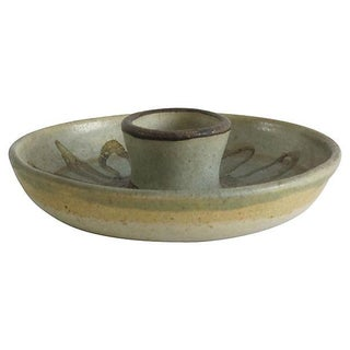 Hand-Painted Studio Pottery Candleholder