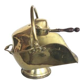 19th-Century English Brass Coal Bucket