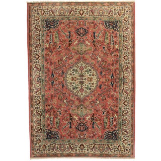 "Vintage Hand Knotted Wool Turkish Rug - 5'8"" x 8'6"""