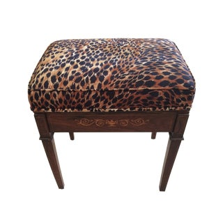 Animal Print Mahogany Bench