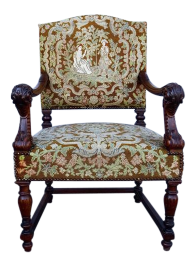 French Louis XIV Carved Walnut Needlepoint Tapestry Armchair