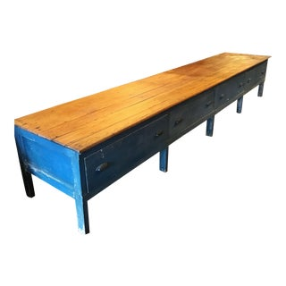 Blue Wood Mercantile Table