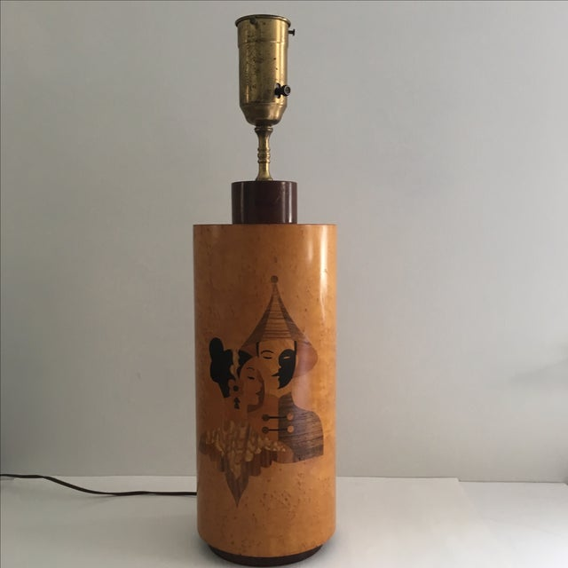 Andrew Szoeke Mid-Century Art Deco Inlaid Lamp - Image 2 of 11