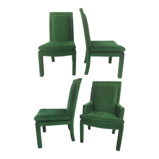 Green Velvet Parsons Dining Chairs After Milo Baughman - Set of 4