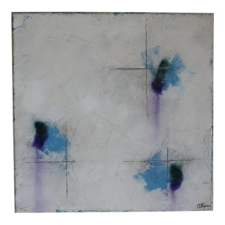 """Cachet, Blue X."" Mixed Media, Oil & Pastel Painting"