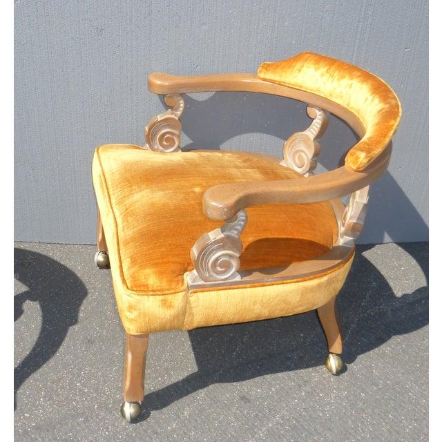 Hollywood Regency Orange Velvet Chairs - A Pair - Image 5 of 11