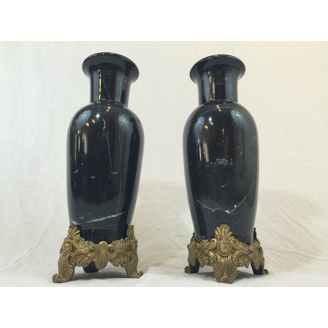 Image of Marble and Brass Vases - a Pair