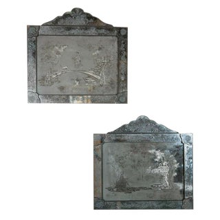 Antique Etched Glass Mirror Plaques - A Pair