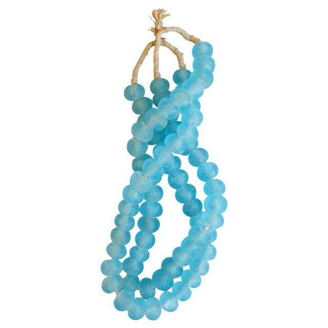Mediterranean Jumbo Azure Blue Glass Beads - a Pair - Image 1 of 7