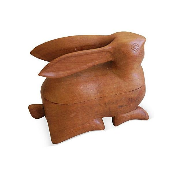 Image of Mid-Century Carved Wood Rabbit Box