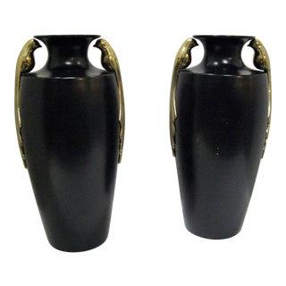 Black & Brass Art Deco Metal Vases - A Pair