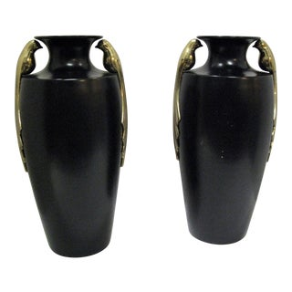 Black & Brass Art Deco Metal Vases - A Pair