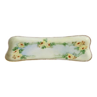 Antique Hand-Painted Porcelain Yellow Rose Trinket Tray