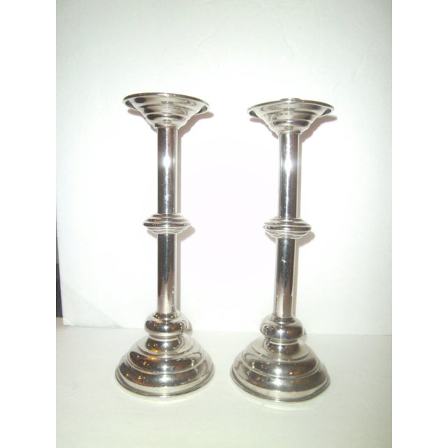 Image of Antique Nickel Candlesticks - A Pair