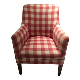 Red and White Buffalo Check Arm Chair