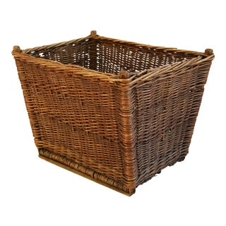 Antique Handwoven French Wicker Basket