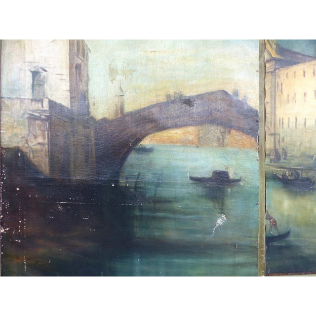 19th-C. Venetian Oil on Canvas Screen - Image 5 of 11
