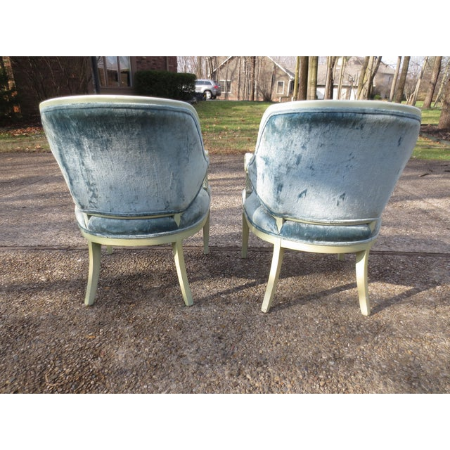 Vintage 1950s Blue Velvet French Chairs - A Pair - Image 4 of 7