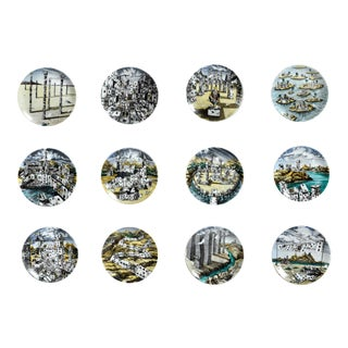 Piero Fornasetti Citta di Carte City of Cards Plates in Complete Set of Twelve.