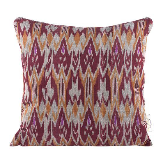 Burgundy Print Throw Pillows : Burgundy & Orange Zig Zag Ikat Throw Pillow Chairish