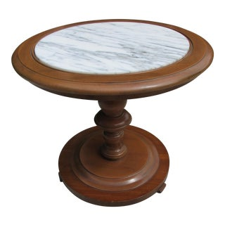 Petite Round Marble Top Accent Table by Lane