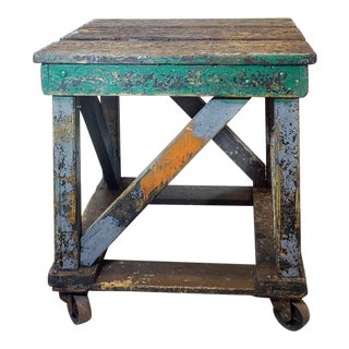 1920's Rolling Wood Factory Table