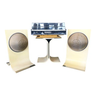 1960s Space Age Electrophonic Turntable Stereo & Speakers - Set of 3