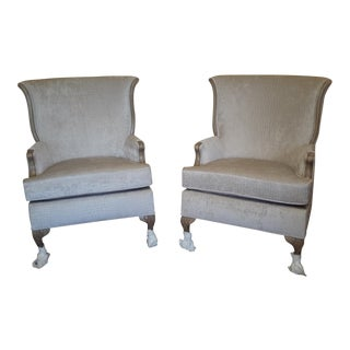 Reupholstered Antique Gray French Chairs - A Pair