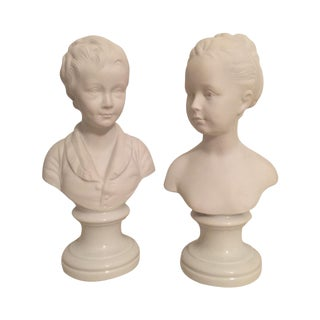 Limoges Parian Ware Busts - a Pair