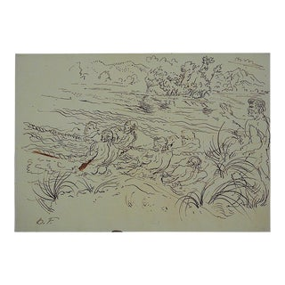 Mid 20th Century Original Signed Drawing By Artist D. Fredenthal