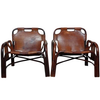 Italian Leather Safari Chairs - A Pair