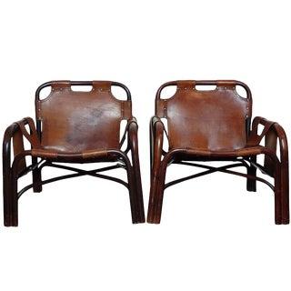 Italian Leather Safari Chairs - A Pair