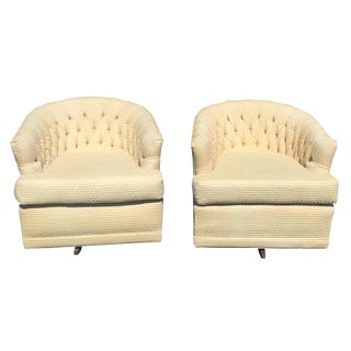 Vintage Tufted Swivel Club Tub Chairs - Pair
