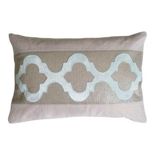 "Piper Collection Metallic Linen & Blue Velvet ""Ceecee"" Pillow"