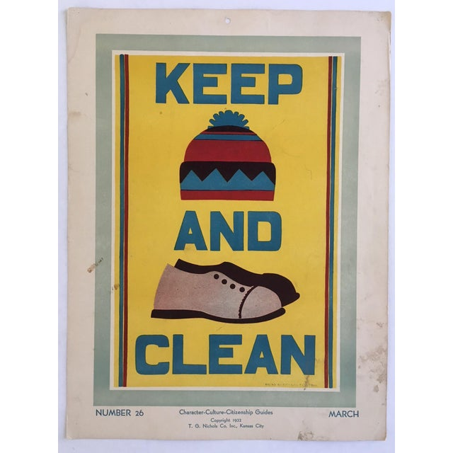 """Vintage 1930's """"Keep (Hat) and (Shoes) Clean Classroom Poster - Image 2 of 3"""