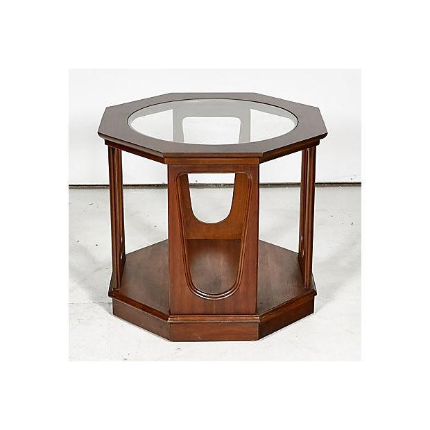 Image of 1960s Glass Top Octagon Side Table