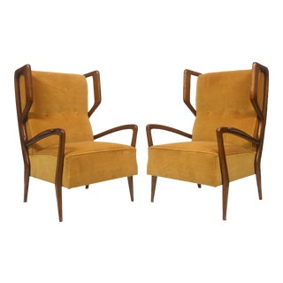 Rare Pair of Italian Modern Walnut Armchairs, Orlando Orlandi