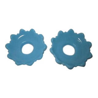 Vallerysthal Blue Milk Glass Wax Catchers Candle Bobeches