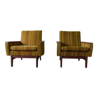 Mid Century Modern Tweed & Teak Lounge Chairs - A Pair