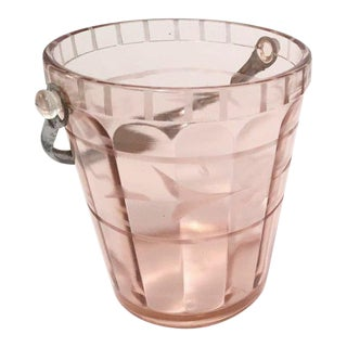 Pink Depression Glass Etched Ice Bucket
