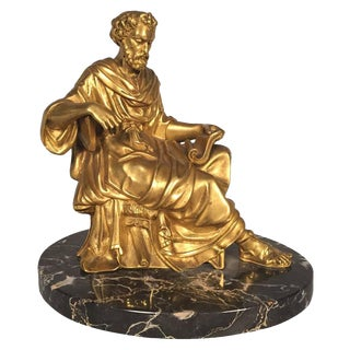 French Gilt Bronze Classical Figure of a Philosopher