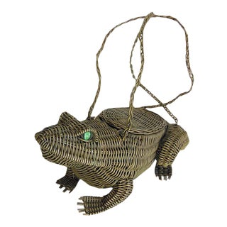 Vintage Wicker Frog Basket Purse