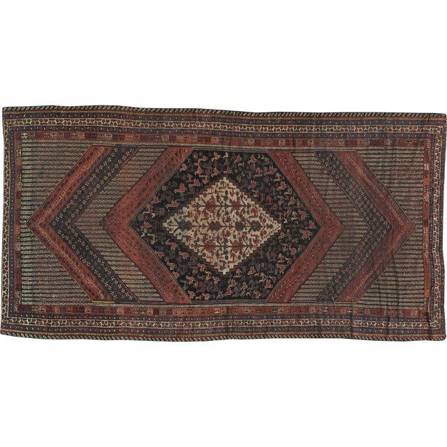 "Antique Persian Distressed Rug - 5'4"" X 10'1"" - Image 1 of 4"