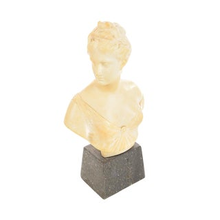 19th century alabaster Bust of Diana -Signed