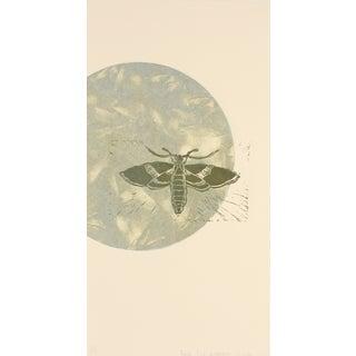 Moth & Moon Linoleum Block Print by R. Delamater