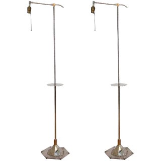 ART DECO PAIR OF WALTER KANTACK FLOOR OR BRIDGE LAMPS