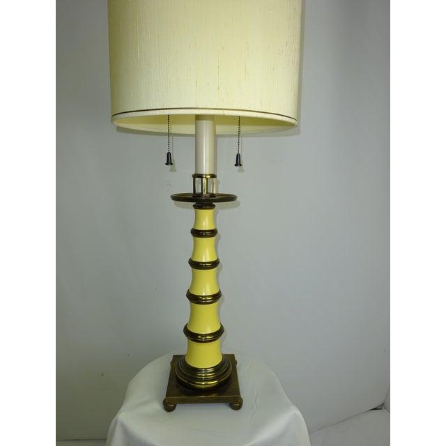 Circa 1960 Faux Bamboo Enamel Table Lamp - Image 3 of 9