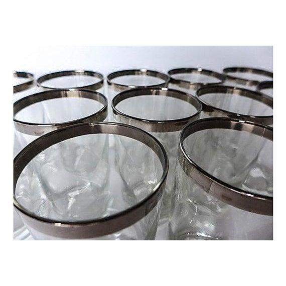 Mid-Century Modern Silver Rim Glassware - 11 - Image 3 of 6