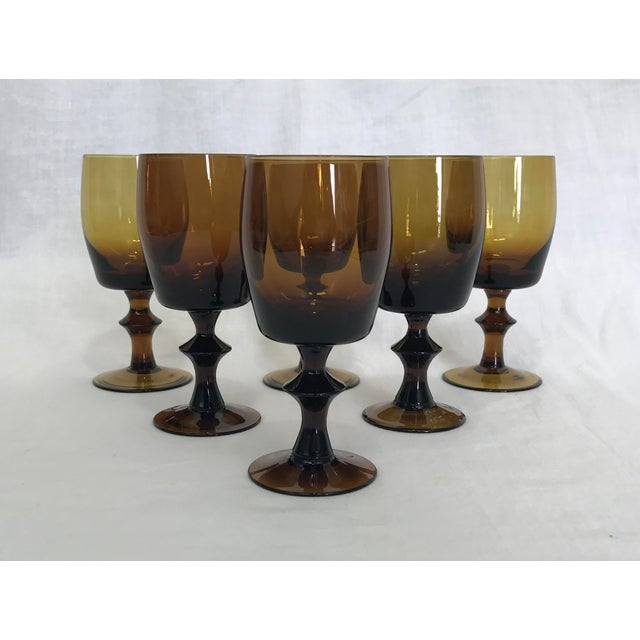 1960s Amber Stem Glasses - Set of 6 - Image 2 of 8